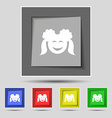 smiling girl icon sign on original five colored vector image vector image