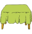 Table with Green Tablecloth vector image