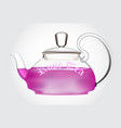 teapot of rose tea vector image vector image