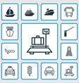 transport icons set collection of baggage ship vector image vector image