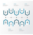 transportation outline icons set collection of vector image vector image