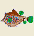 wide brown monster fish similar to flounder vector image vector image