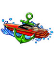 with boat graphics on white vector image vector image