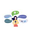 woman giving customers feedback and social network vector image