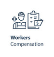 worker and check list medical insurance vector image