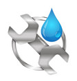 wrench and a drop of water to repair plumbing vector image vector image