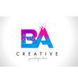 ba b a letter logo with shattered broken blue