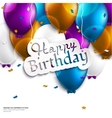 birthday card with balloons and birthday text vector image vector image