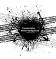 Black grunge ink blots tire track vector image vector image