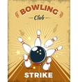 Bowling Club Retro Style Design vector image vector image