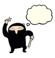 cartoon ninja with thought bubble vector image
