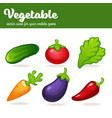cartoon vegetables mobile game asset vector image vector image
