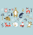 christmas set with cute animals winter characters vector image
