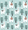 christmas tree and cute lama with gift boxes vector image