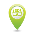cinema glasses 3d icon green map pointer vector image vector image