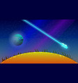 comet flying near the sun vector image