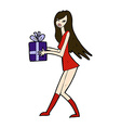 comic cartoon fashion girl with present vector image vector image