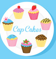 Cup cakes on a white plate vector image vector image