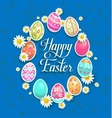 Eggs and flowers on blue background vector image vector image