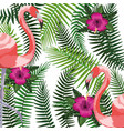 Exotic bird and tropical leaves background