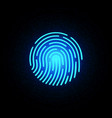 finger print blue neon on dark background vector image