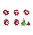 flat santa logo in line art style vector image vector image