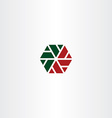 geometric red green hexagon icon vector image vector image