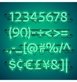 Glowing Neon Green Numbers vector image vector image