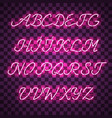 glowing purple neon uppercase script font vector image vector image