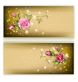 gold card with roses vector image vector image