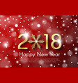golden new year 2018 concept on red snow blurry vector image vector image