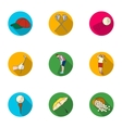 Golf club set icons in flat style Big collection vector image