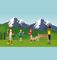 group of athletes practicing sports on the park vector image vector image