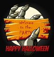 halloween party poster with monster hand vector image vector image