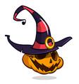 halloween pumpkin in witch hat cartoon vector image vector image