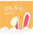 happy easter bunny ear clound orange background ve vector image vector image
