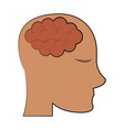 human brain inside head icon image vector image