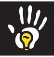 light bulb hand print vector image vector image