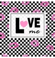 Love me Pink lips kisses prints background Black vector image vector image
