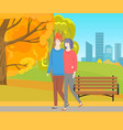 man and woman walking together in autumn park vector image vector image