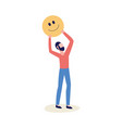 man holding emoticon or smiley face icon vector image