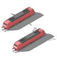modern electric locomotive isometric low poly icon vector image vector image