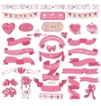Mothers day pink decor setHand drawing Ribbons vector image vector image
