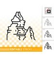 mountain simple black line climbing icon vector image vector image
