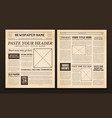 newspaper pages template vintage vector image