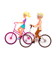old and young woman riding bicycle cycling vector image