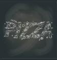 pizza logo on the blackboard vector image