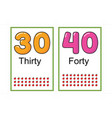 printable number flashcards for teaching number vector image vector image