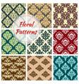 seamless floral damask patterns set vector image vector image