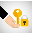 security concept hand with key vector image